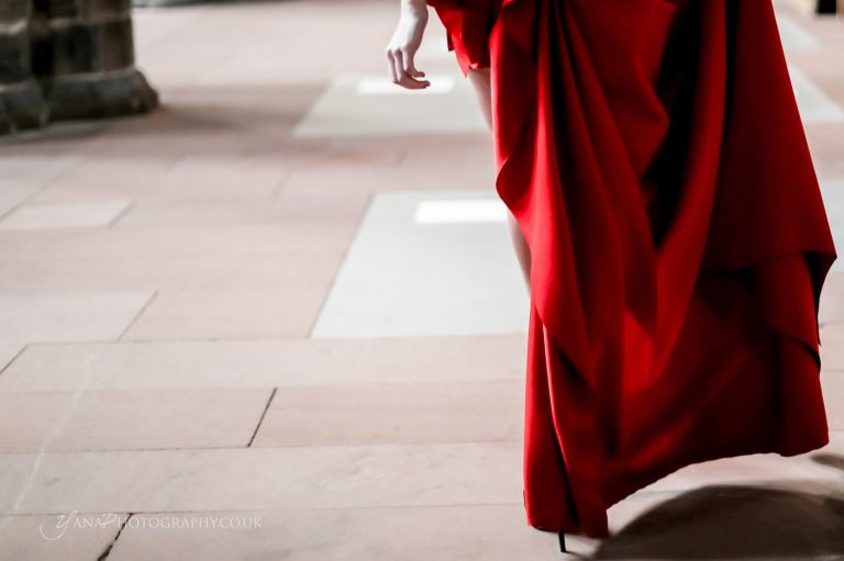 red haute couture dress detail