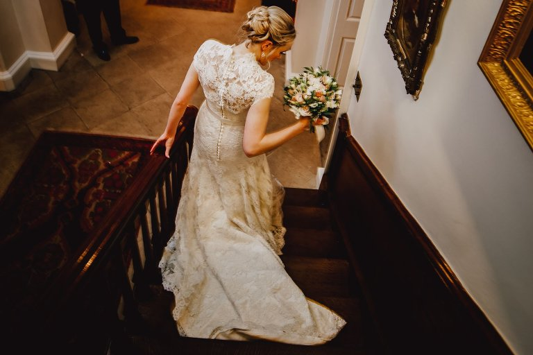 Iscoyd Park Christmas wedding indoor portraits on staircase