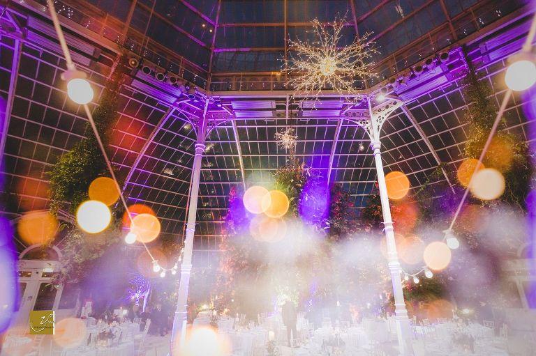 Palm House wedding Sefton Park evening lighting