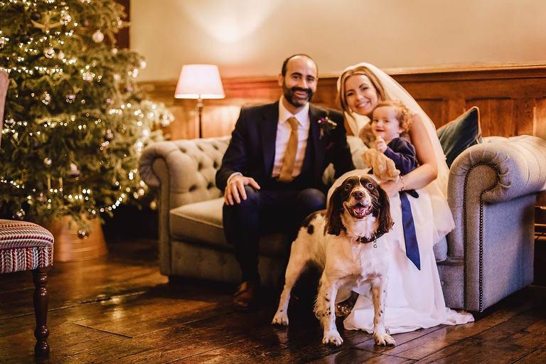 Soughton Hall wedding photos winter Christmas dogs